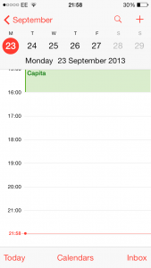What happens when you tap a day in month view in ios7