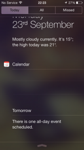 ios7 missing links notification centre